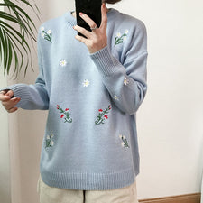 Autumn Spring Women Sweater Flowers Embroidery Pattern All-match Lady Sweater Long Sleeve Kawaii Pullovers
