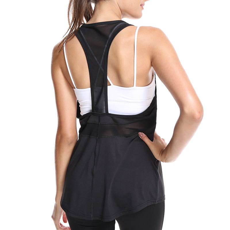 Mesh Patchwork Black Ladies Fitness Tops Sporting Breathable Loose Sleeveless Tank Top Women Fitness Clothing Quick Dry T Shirts