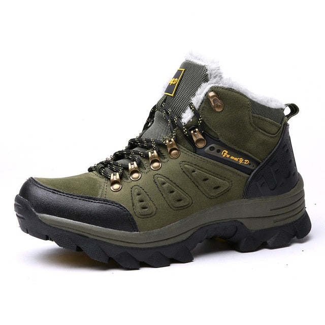 Costbuys  Winter Fur Warm Snow Boots Men Shoes Men Adult Couples Casual Ankle boots Rubber Non Slip Outdoor Men Boot - Army gree