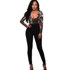 Autumn Winter Sexy women body Long Sleeves Gold Sequins Jumpsuit Elegant catsuit Embroidery Romper V Neck bodysuit Overalls