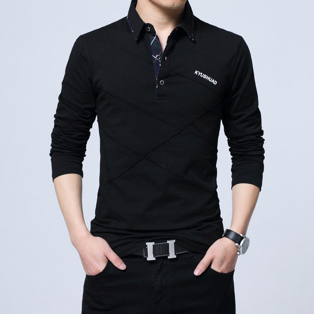 Black polo dress shirts for men