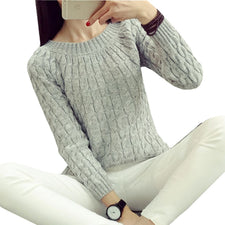 Autumn Sweet Women's Sweater Long Sleeve Casual Pullovers Solid Elegant Tops All-match Slim Basic Tops