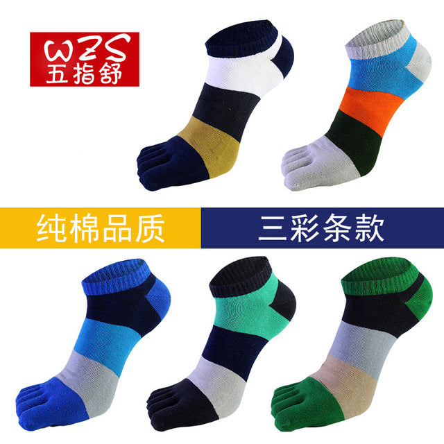 Costbuys  5 Pairs Men Pure Cotton Toe Sock Breathable Men Socks Cotton Five Fingers Casual with Toes Ankle - Multi / One Size