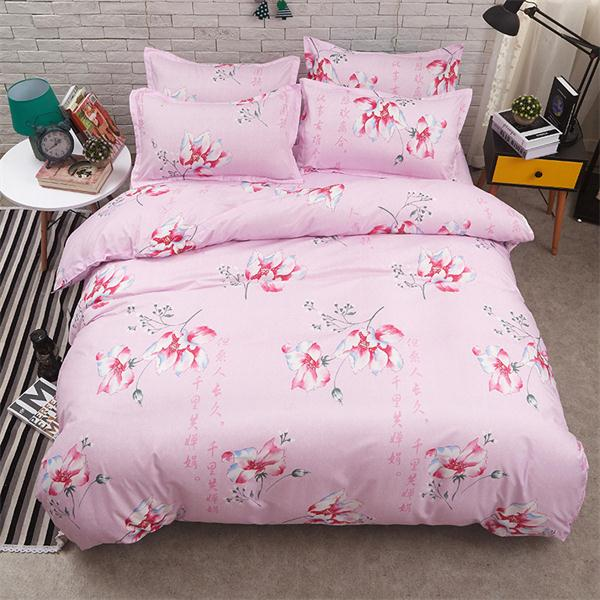 Costbuys  Pink king queen Single size - bed linen bedding sets bedclothes duvet cover bed sheet pillowcases - as picture 1 / Que