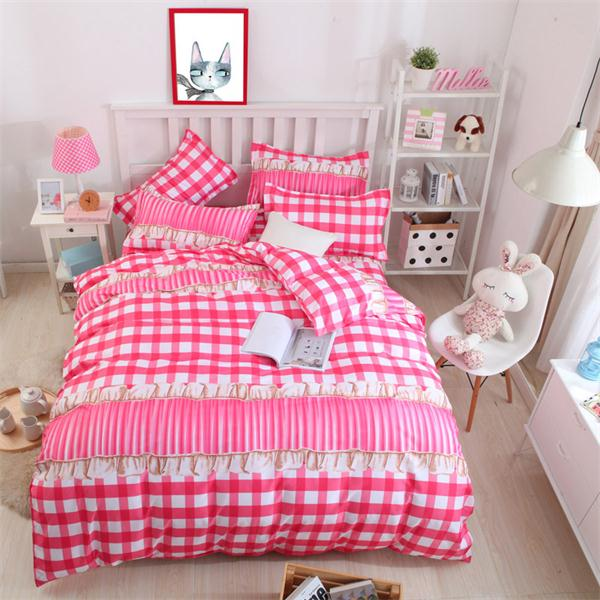 Costbuys  Pink king queen Single size - bed linen bedding sets bedclothes duvet cover bed sheet pillowcases - as picture 8 / Sup