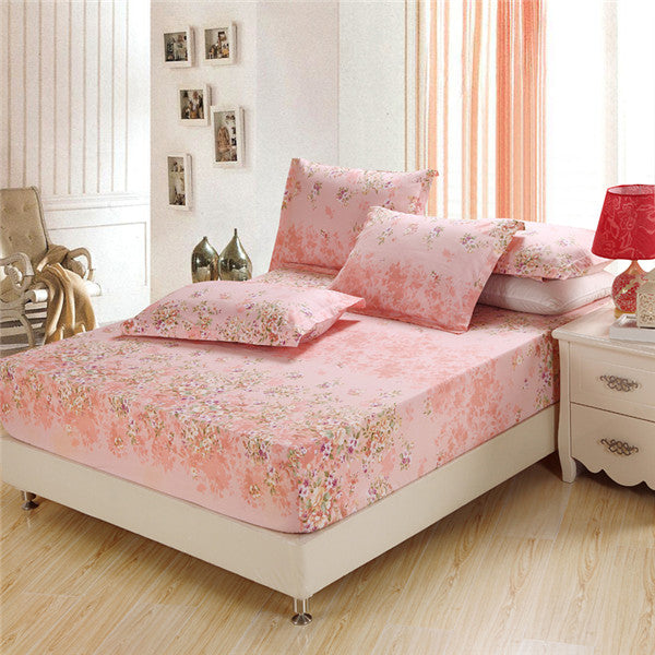 Costbuys  3Pcs sets 100%cotton fitted sheet pink flower bed sheet twin full queen king size California King bedding fitted cover