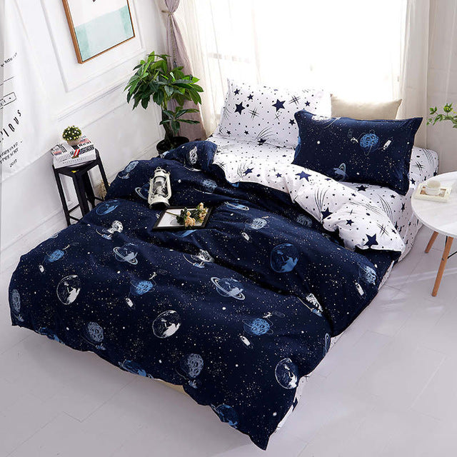 Costbuys  Galaxy Bedding Set Universe Planet Print Duvet Cover and Pillowcases 3pcs Bedclothes Twin Full Queen King Size Bed Lin