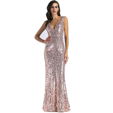 Sexy women Gold Sequins Dress Backless Floor length Long Luxury club Party Dresses