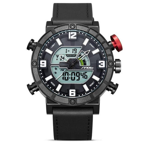 Luxury Brand Sport Watch Men LED Display Clock Male Leather Dual Digital Quartz Date Watches Back-light