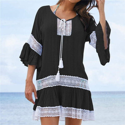 New Cotton Print Summer Beach Cover up Tunic Bikini Cover Up for Women Bathing Suit Coverups Beach cardigan Beachwear
