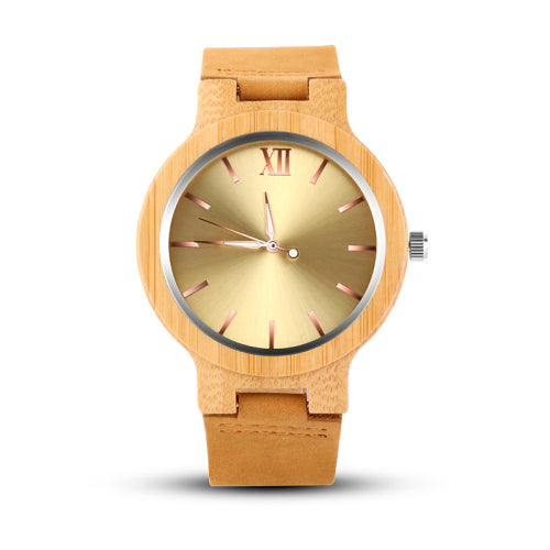 Costbuys  Gold Wood Watch Men Wooden Men's Watch Unique Wood Watches Clock - Gold / Costbuys