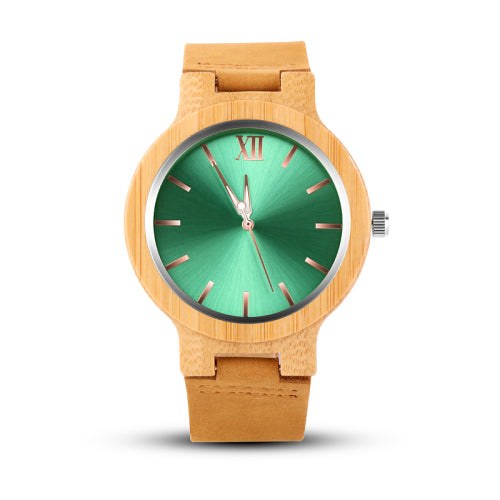 Costbuys  Gold Wood Watch Men Wooden Men's Watch Unique Wood Watches Clock - Green / Costbuys