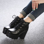 Designers New Spring Autumn Women Shoes Black High Heels Boots Lacing Platform Ankle Boots Chunky Size 35-39