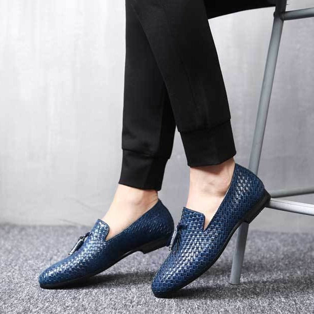 Costbuys  Men Shoes Breathable Comfortable Men Loafers Luxury Tassel Weave Men's Flats Men Casual Shoes - Blue Men Loafers / 10