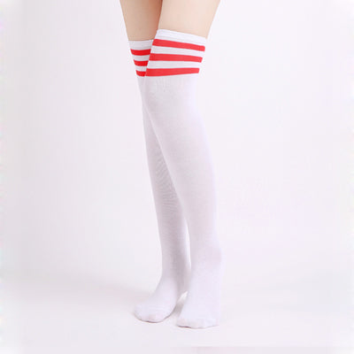 Costbuys  1Pair Striped Over Knee Socks Women Thigh High Over The Knee Stockings For Ladies Girls Warm Long Stocking Sexy Medias