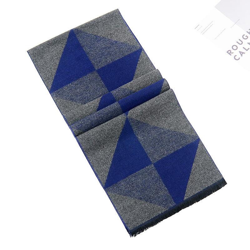 New Designers Winter Warm Scarves for Men's Geometric Printed Male Long Grey Tassel Scarves