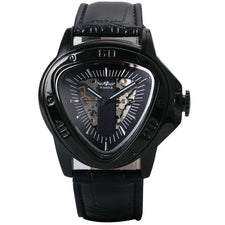 Automatic Mechanical Men Watch Racing Sports Design Triangle Skeleton Wristwatch  Golden Black
