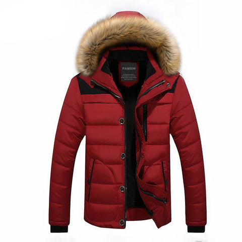 Winter Thick Warm Men's Parka Fur Hooded Men's Down Jacket Fashion Hooded Padded Quilted Men Jacket Coat Outwear