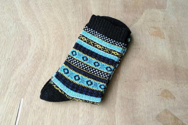 Costbuys  Autumn and winter new men thickening warm striped Lingge retro original wool sheep socks 5 pairs - black / One Size