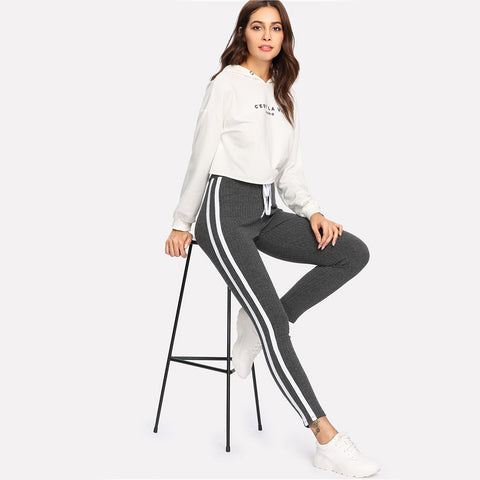 Sweatpants Women Grey Striped Drawstring Waist Casual Women's Pants Striped Side seam Ribbed Knit Sweatpants