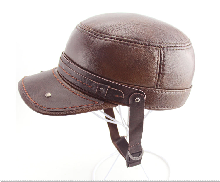 Winter men's faux leather cap warm hat baseball cap with ear flaps flat top caps for men Big Size 61cm Brown