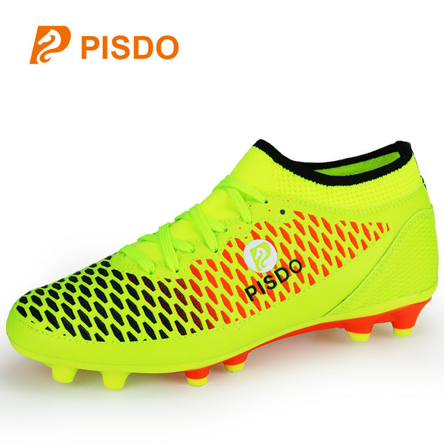 370075e35 New Athletics Spikes Shoe Men Teenager Soccer Spikes Trainers Lace Up  Leather Soccer Cleats Green Black