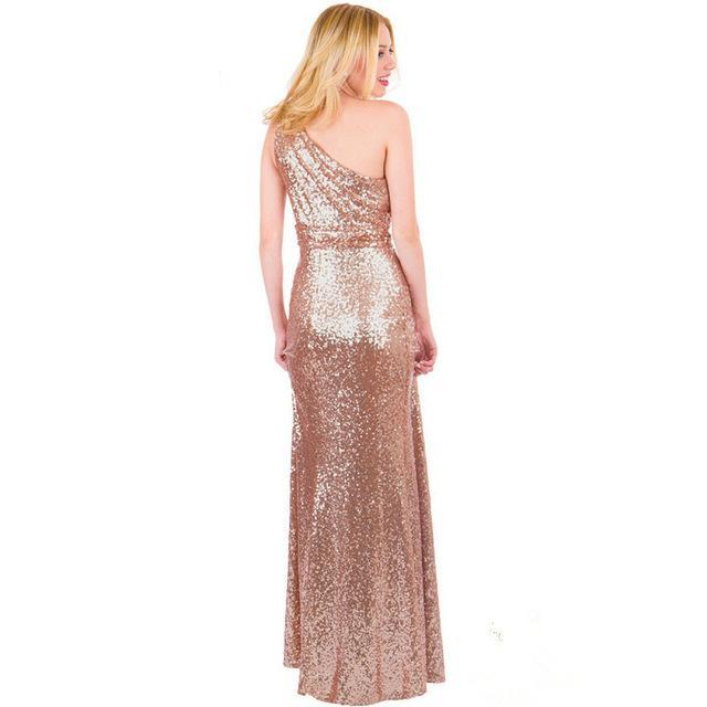 Costbuys  Sparkly Bridesmaid Dresses Long Sequins Rose Gold Wine Red Blue One-shoulder - as picture 1 / 10