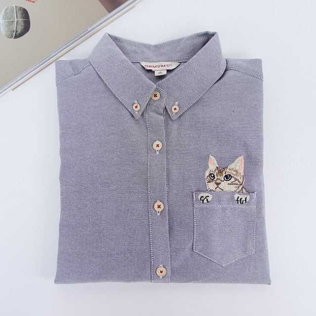 Costbuys  Women Blouses Slim Loose Turn-down Collar Long Sleeve Cat Embroidered Shirts Tops Clothes - Gray / L