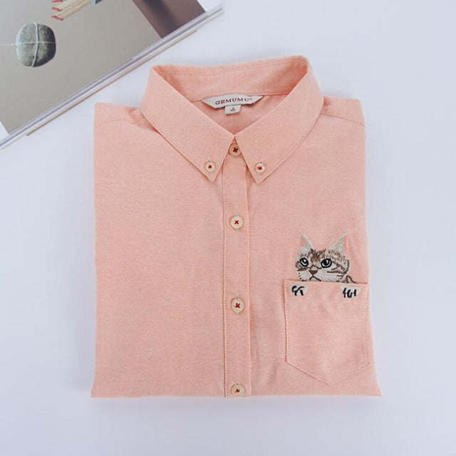 Costbuys  Women Blouses Slim Loose Turn-down Collar Long Sleeve Cat Embroidered Shirts Tops Clothes - Orange / L