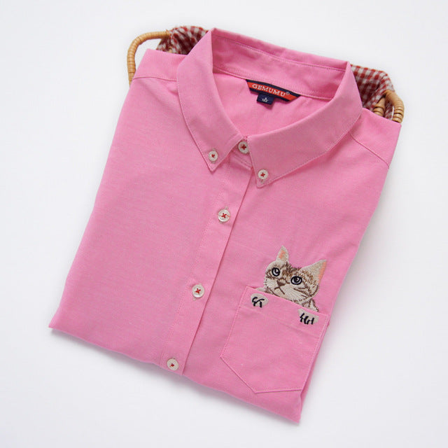 Costbuys  Women Blouses Slim Loose Turn-down Collar Long Sleeve Cat Embroidered Shirts Tops Clothes - Pink / L
