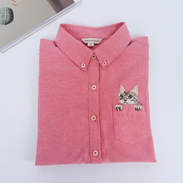 Costbuys  Women Blouses Slim Loose Turn-down Collar Long Sleeve Cat Embroidered Shirts Tops Clothes - watermelon red / L