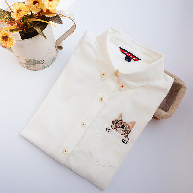 Costbuys  Women Blouses Slim Loose Turn-down Collar Long Sleeve Cat Embroidered Shirts Tops Clothes - White / L