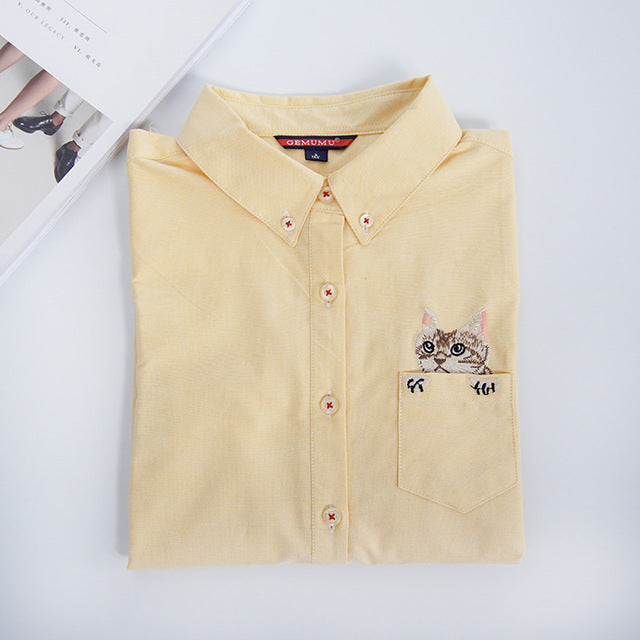 Costbuys  Women Blouses Slim Loose Turn-down Collar Long Sleeve Cat Embroidered Shirts Tops Clothes - Yellow / L
