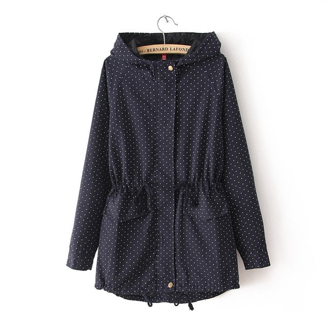 Costbuys  Trench Coats Autumn Winter Women Cute Polka Dots Hooded Trench Plus Size Coat - navy / L