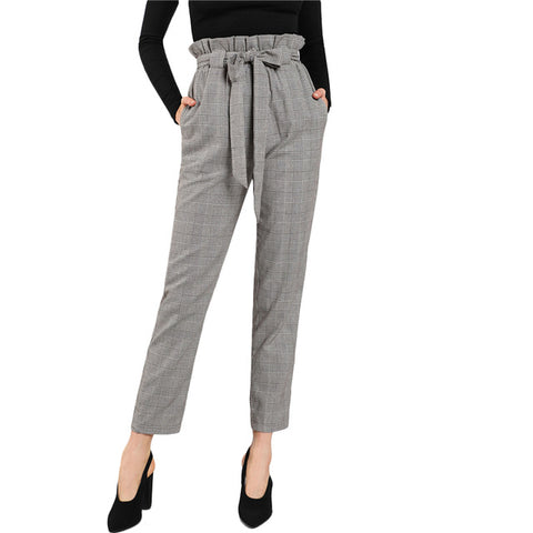 High Waist Tapered Pants Elastic Waist Frilled Tie Waist Belt Plaid Pants Women OL Style Work Trousers