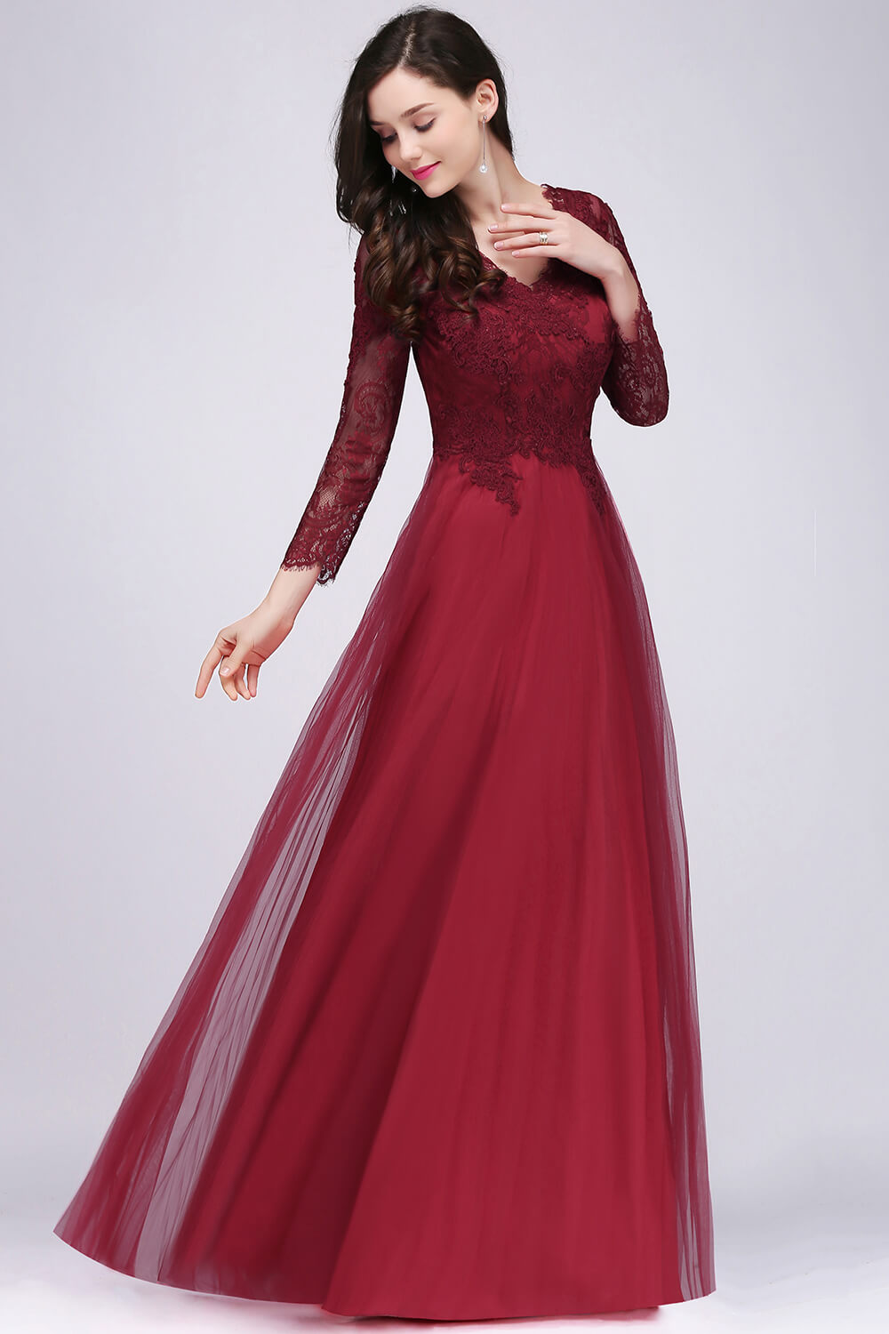 Evening Dress Burgundy Lace Long Sleeve Formal Party Evening Dresses