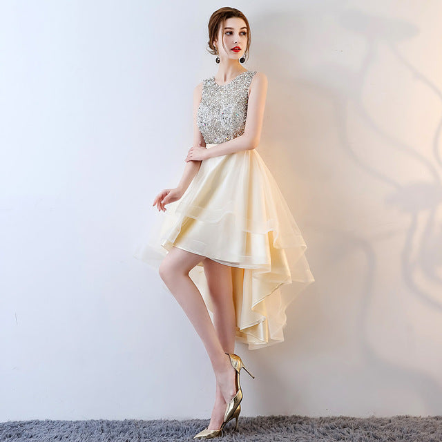 Costbuys  Asymmetrical Cocktail Party Dresses Party Prom Dresses Sleeveless Backless Formal Occasion Dress - Champagne / 10