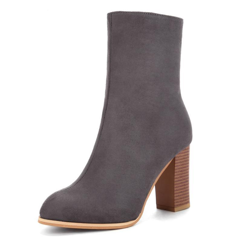 Womens High Heels Cowboy Stiletto Mid Calf Boots With Zip Pointed Toe Autumn Winter Shoes