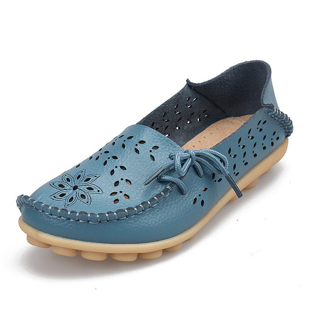 Costbuys  Genuine Leather Women Flats Shoe Casual Lace-up Soft Loafers Spring Autumn ladies shoes - light blue / 10