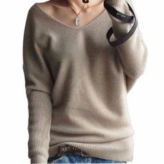 Autumn Winter Cashmere Sweater Women Sexy V-neck Loose 100% Wool Sweater