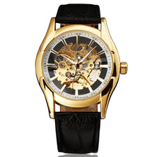 Autoamtic Mechanical Men Women Watches Classic Silver/Golden Case Skeleton Dial Real Leather Strap