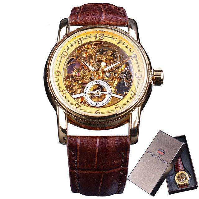 Costbuys  Classic Royal Retro Golden Case Hollow Skeleton Dial Brown Leather Mens Automatic Watch - FORSINING Gift Box