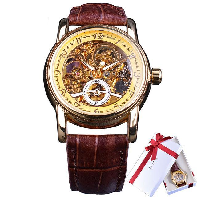 Costbuys  Classic Royal Retro Golden Case Hollow Skeleton Dial Brown Leather Mens Automatic Watch - Christmas Gift Box