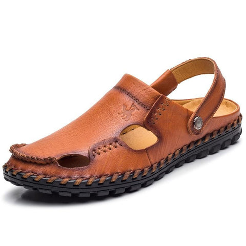 Caltus Genuine Leather Beach Sandals Men Light Weight Breathable Men Flats Fashion High Quality