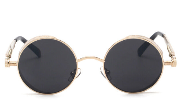 Costbuys  Women round sunglasses steampunk metal frame vintage round sun glasses male female - gold with black