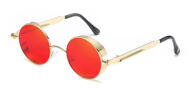 Costbuys  Women round sunglasses steampunk metal frame vintage round sun glasses male female - gold with clear red