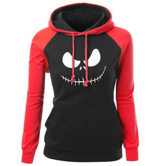 Women's Sweatshirt Autumn Winter Fleece Hoodie For Female Jack  Pumpkin King Print Streetwear Slim Hip Hop Hoody