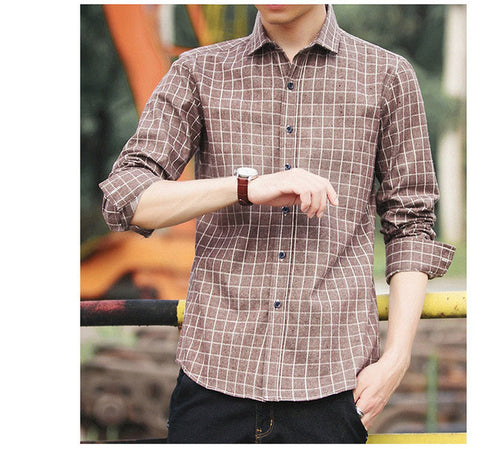 100% Cotton High Quality Men Casual Stripe Shirts Square Collar Button-Up Long Sleeve Business Formal Men Dress Shirt