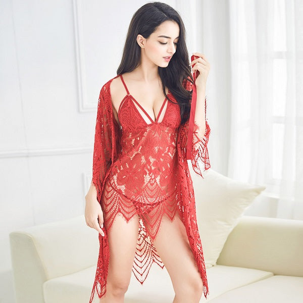 3 Pcs Hollow Sexy Women Robe+Nightgown+G-String Sets Long Section Breathable Women Bathrobe