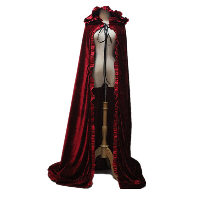 Costbuys  Halloween Adult Witch Long Red Black Halloween Cloaks Hood and Capes Halloween Costumes for Women Men - Red / One Size